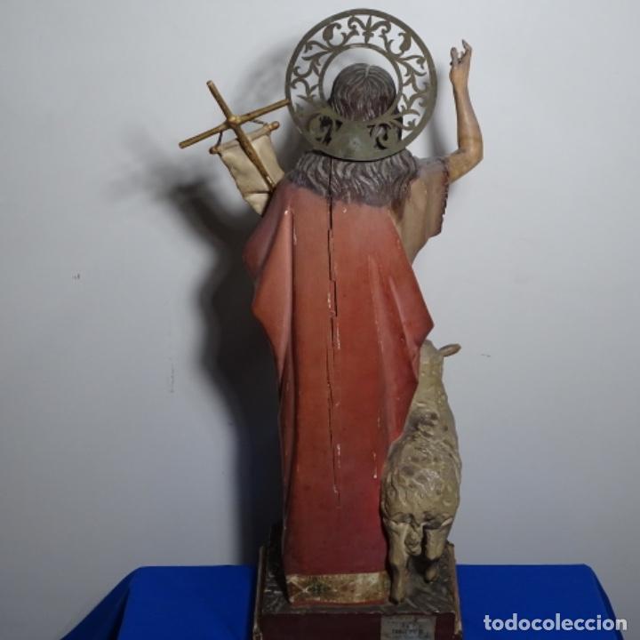 Arte: Escultura de, siglo xix de madera de Tomàs picas.con policromia.santo con oveja. - Foto 21 - 196318200