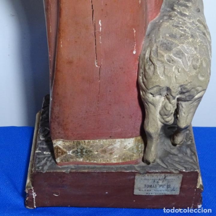 Arte: Escultura de, siglo xix de madera de Tomàs picas.con policromia.santo con oveja. - Foto 24 - 196318200