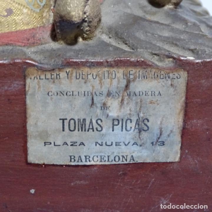 Arte: Escultura de, siglo xix de madera de Tomàs picas.con policromia.santo con oveja. - Foto 25 - 196318200