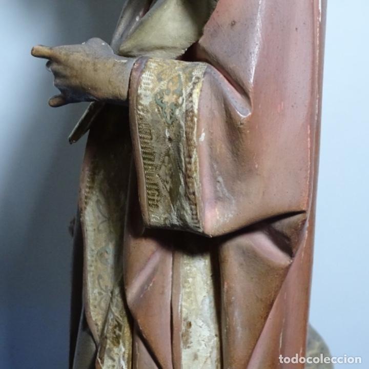Arte: Escultura de, siglo xix de madera de Tomàs picas.con policromia.santo con oveja. - Foto 28 - 196318200