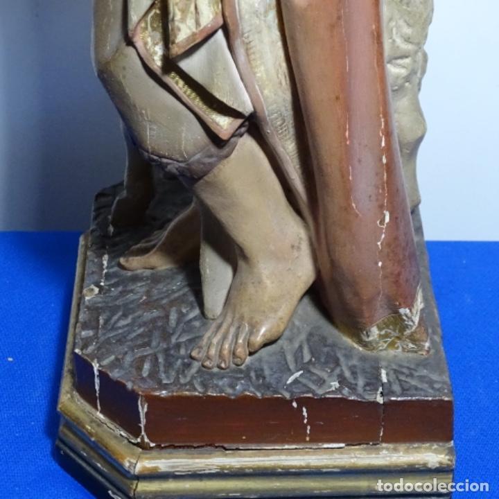Arte: Escultura de, siglo xix de madera de Tomàs picas.con policromia.santo con oveja. - Foto 29 - 196318200