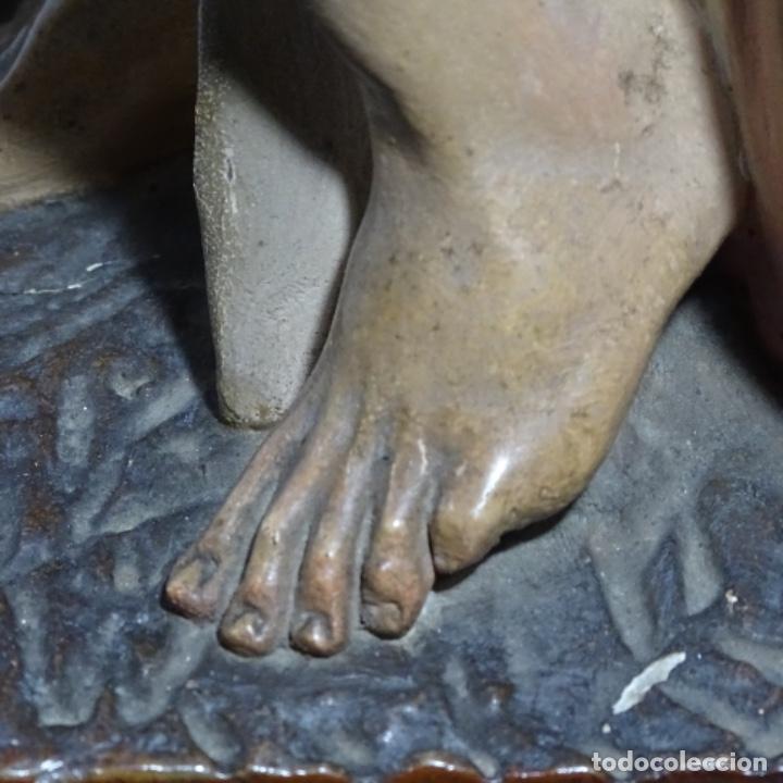 Arte: Escultura de, siglo xix de madera de Tomàs picas.con policromia.santo con oveja. - Foto 30 - 196318200
