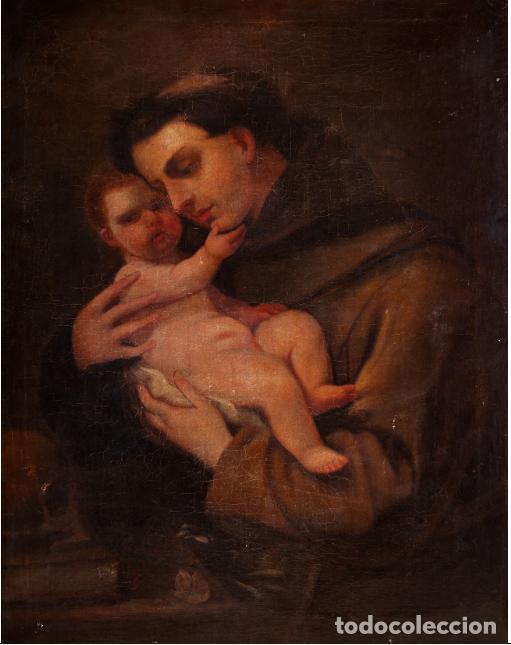 SAN ANTONIO DE PADUA Y EL NIÑO JESÚS. LUCAS JORDAN O TALLER? (Arte - Arte Religioso - Pintura Religiosa - Oleo)