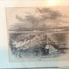 Arte: GRABADO VISTA AEREA PUERTO DE CADIZ APROX 1880. Lote 196493525