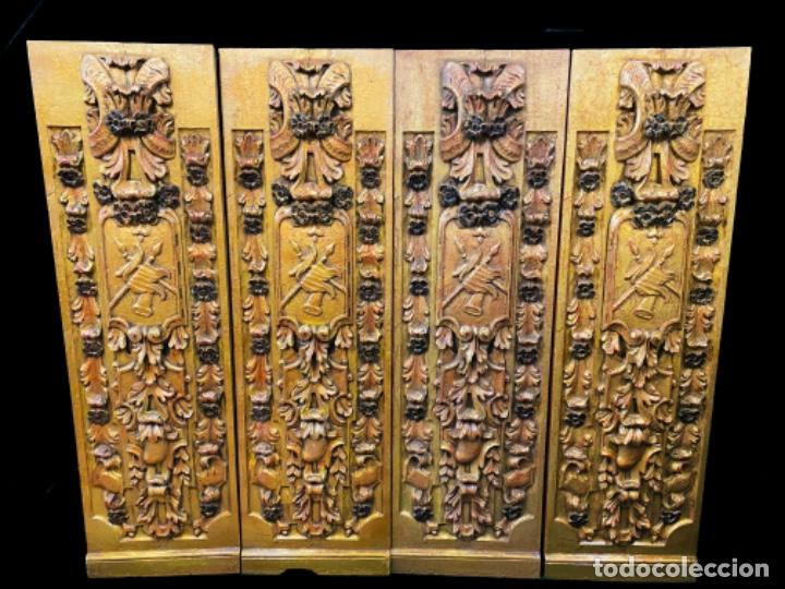 Arte: Antigua tabla, adorno con motivos vegetales. Dorado y policromado. 173x55cm. Maravillosa - Foto 5 - 135529661