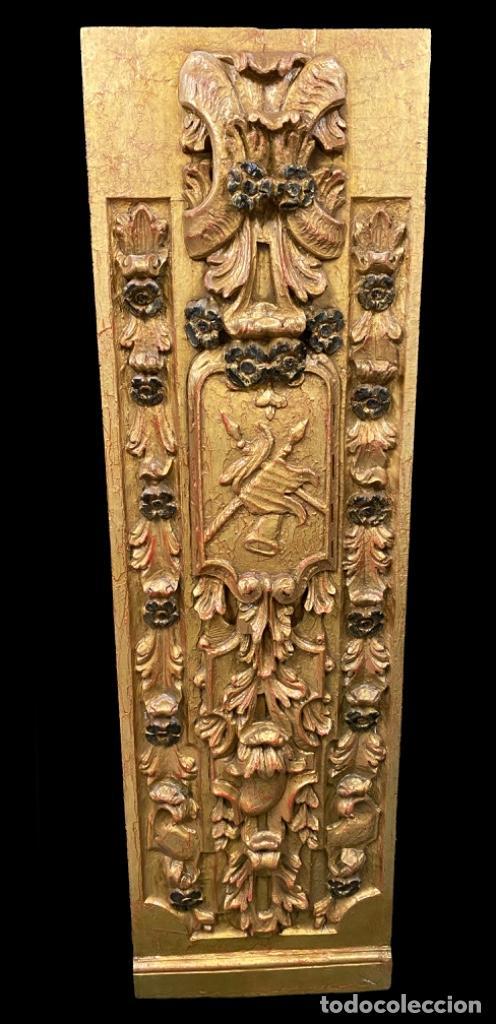 ANTIGUA TABLA, ADORNO CON MOTIVOS VEGETALES. DORADO Y POLICROMADO. 173X55CM. MARAVILLOSA (Arte - Arte Religioso - Retablos)
