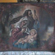 Arte: ÓLEO SOBRE TAPIZ. LA SAGRADA FAMILIA. FINALES S.XIX. 100 X 78 CM.. Lote 196596811