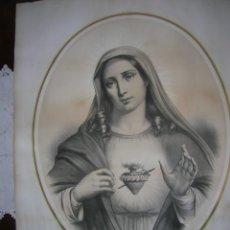 Arte: LITOGRAFÍA ANTIGUA COLOREADA SAGRADO CORAZÓN DE MARÍA (S. XIX). Lote 196602666