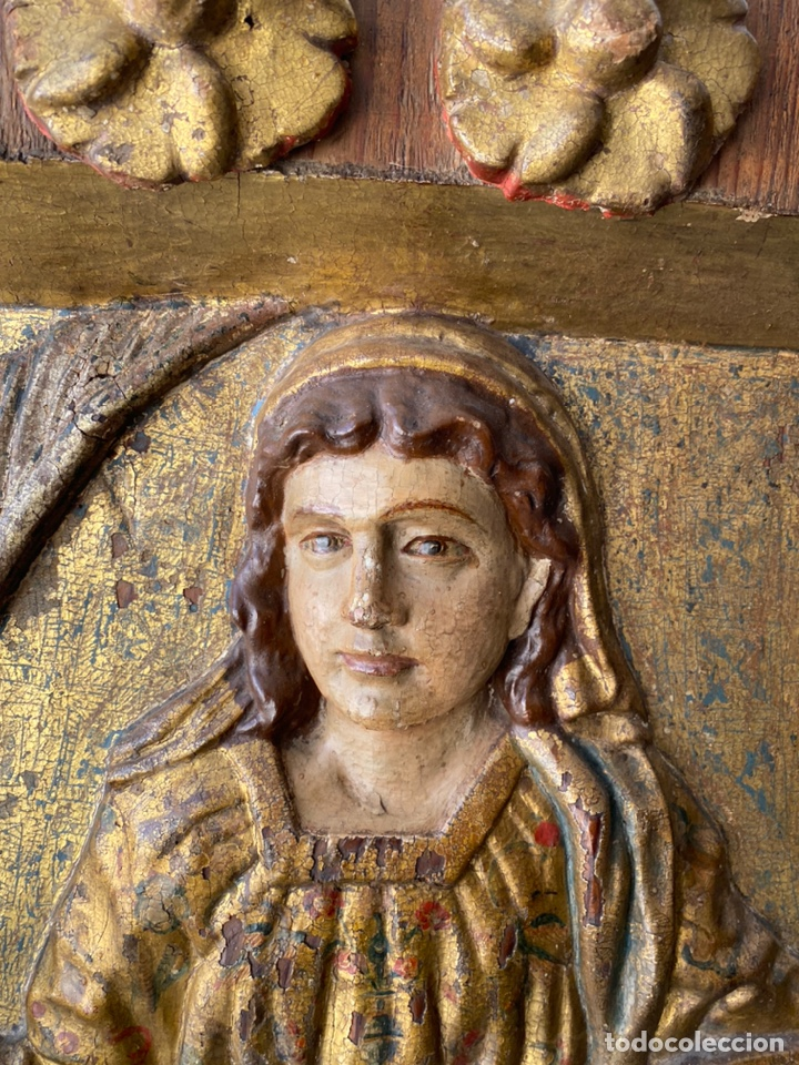 Arte: Retablo madera policromada siglo XVII , relieve Santa Lucía - Foto 5 - 196621257