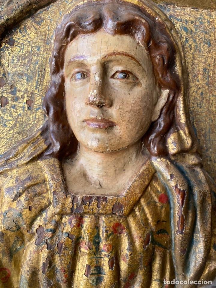 Arte: Retablo madera policromada siglo XVII , relieve Santa Lucía - Foto 10 - 196621257