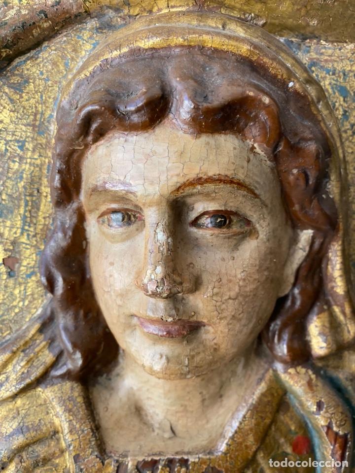 Arte: Retablo madera policromada siglo XVII , relieve Santa Lucía - Foto 12 - 196621257