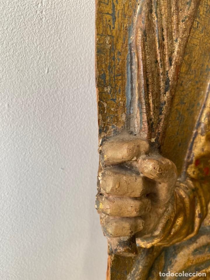 Arte: Retablo madera policromada siglo XVII , relieve Santa Lucía - Foto 13 - 196621257