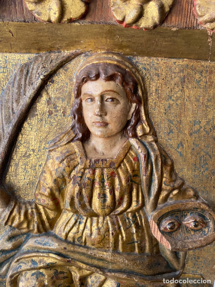 Arte: Retablo madera policromada siglo XVII , relieve Santa Lucía - Foto 16 - 196621257