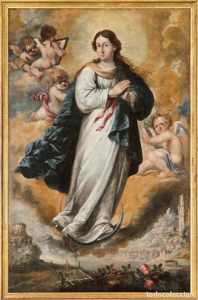 ÓLEO LIENZO INMACULADA CONCEPCIÓN IGNACIO DE RÍES SEVILLA CA. 1612 - SEVILLA 1661 (Arte - Arte Religioso - Pintura Religiosa - Oleo)