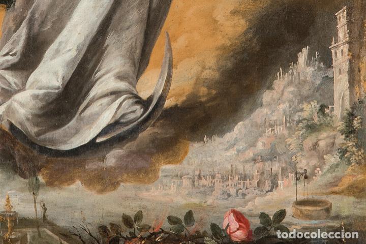 Arte: Óleo lienzo Inmaculada Concepción Ignacio de Ríes Sevilla ca. 1612 - Sevilla 1661 - Foto 2 - 196625065