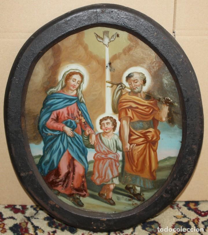 LA SAGRADA FAMILIA - CRISTAL PINTADO - SG XVIII-XIX . (Arte - Arte Religioso - Pintura Religiosa - Oleo)
