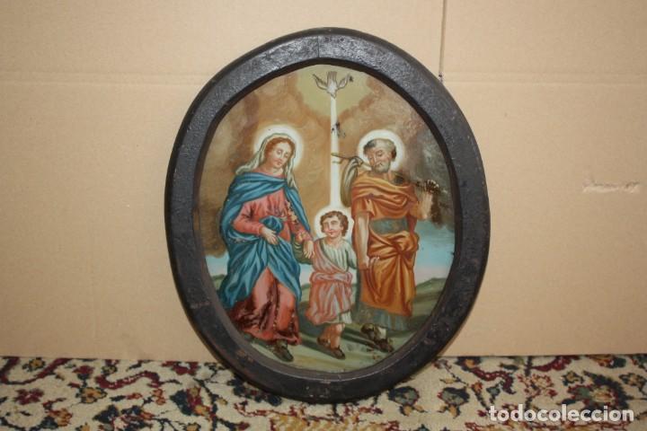 Arte: LA SAGRADA FAMILIA - CRISTAL PINTADO - SG XVIII-XIX . - Foto 2 - 196669322