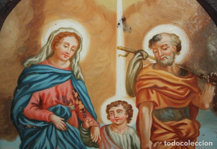 Arte: LA SAGRADA FAMILIA - CRISTAL PINTADO - SG XVIII-XIX . - Foto 3 - 196669322