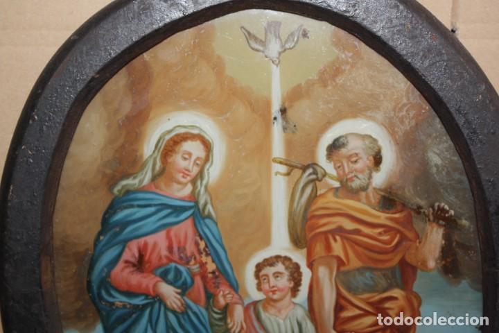 Arte: LA SAGRADA FAMILIA - CRISTAL PINTADO - SG XVIII-XIX . - Foto 10 - 196669322