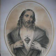 Arte: LITOGRAFÍA ANTIGUA COLOREADA SAGRADO CORAZÓN DE JESÚS (S. XIX). Lote 196752990