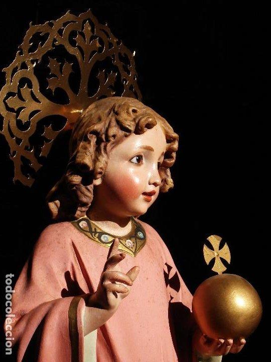 Arte: NIÑO JESUS DIVINO REDENTOR PASTA DE MADERA - Foto 4 - 196760063