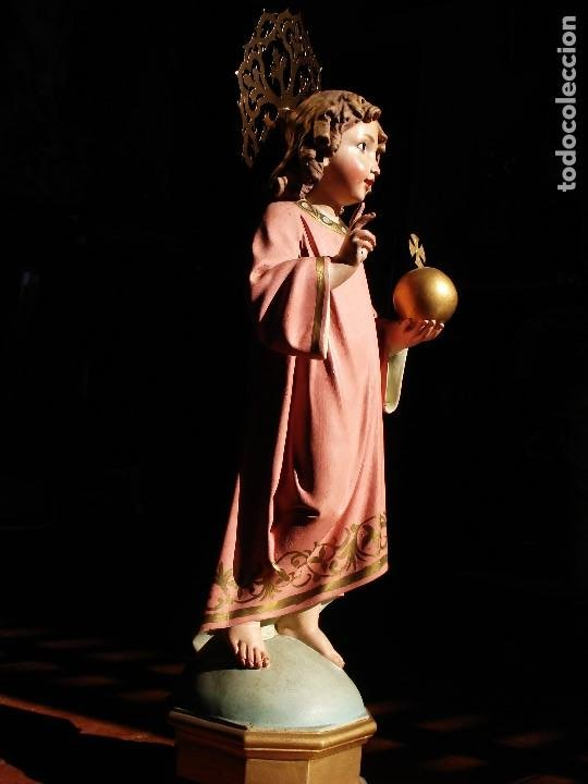 Arte: NIÑO JESUS DIVINO REDENTOR PASTA DE MADERA - Foto 9 - 196760063