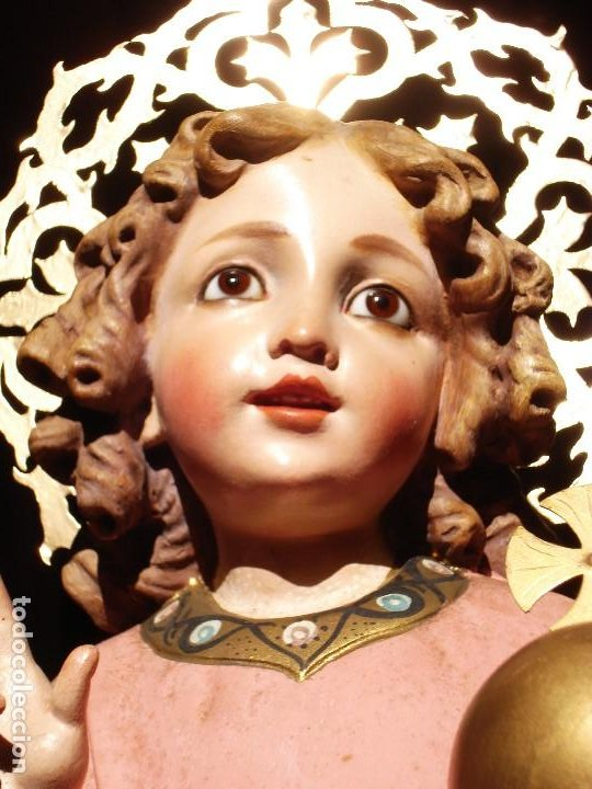 NIÑO JESUS DIVINO REDENTOR PASTA DE MADERA (Arte - Arte Religioso - Escultura)