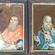 Arte: PAREJA DE OBISPOS. PINTURA SOBRE CRISTAL. SIN FIRMAR. SIGLO XVIII-XIX. . Lote 196827852