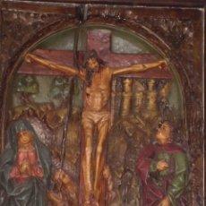 Arte: RETABLO BAJORELIEVE DE ALTAR, CALVARIO PRINCIPIOS SIGLO XIX. Lote 196939033