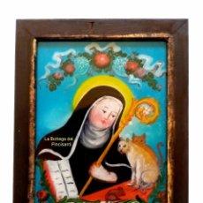 Art: ST. GELTRUDE (A) CM 18X13 PINTURA RELIGIOSA OLEO BAJO CRISTAL SICILY 800 ' (REPRODUCCIÓN). Lote 176769989