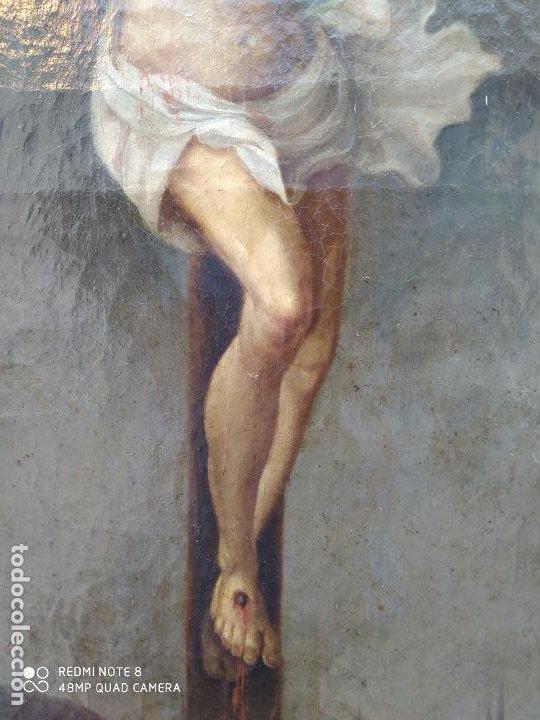 Arte: Óleo antiguo con la imagen de Cristo crucificado, del siglo XVllI, se encuentra en muy buen estado y - Foto 3 - 197095355