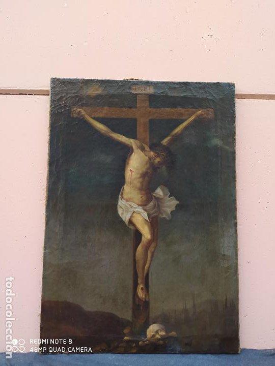 Arte: Óleo antiguo con la imagen de Cristo crucificado, del siglo XVllI, se encuentra en muy buen estado y - Foto 5 - 197095355