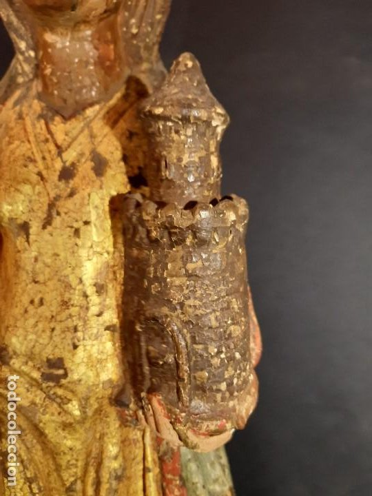 Arte: Santa Bárbara. Talla de madera policromada. Gótico. - Foto 9 - 197189278