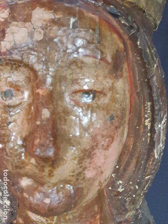 Arte: Santa Bárbara. Talla de madera policromada. Gótico. - Foto 11 - 197189278