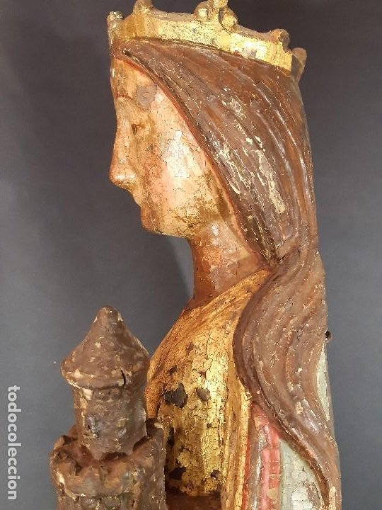 Arte: Santa Bárbara. Talla de madera policromada. Gótico. - Foto 18 - 197189278