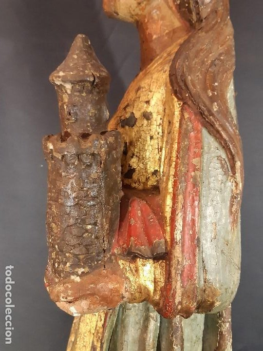 Arte: Santa Bárbara. Talla de madera policromada. Gótico. - Foto 19 - 197189278