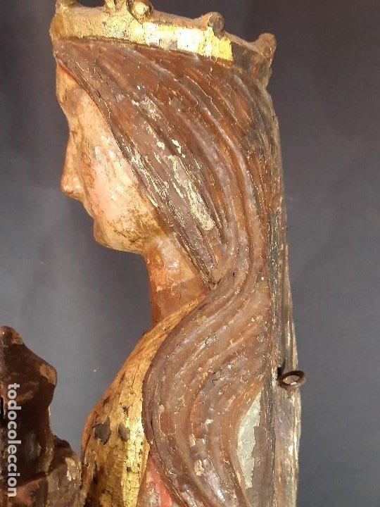 Arte: Santa Bárbara. Talla de madera policromada. Gótico. - Foto 24 - 197189278