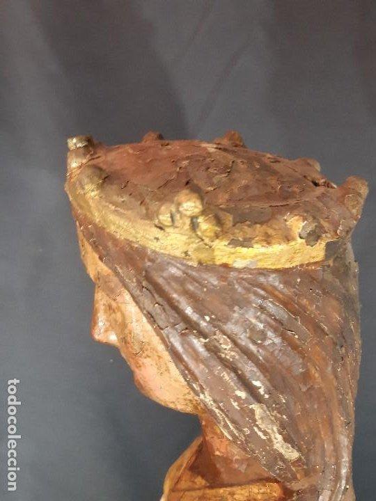 Arte: Santa Bárbara. Talla de madera policromada. Gótico. - Foto 25 - 197189278