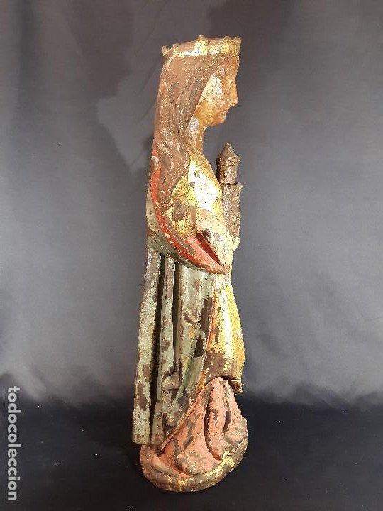 Arte: Santa Bárbara. Talla de madera policromada. Gótico. - Foto 42 - 197189278