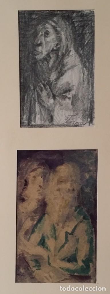 OTTO GRASSL (1891-1976). LA ORACIÓN, ACUARELA Y DIBUJO DE 1940. (Arte - Arte Religioso - Pintura Religiosa - Acuarela)