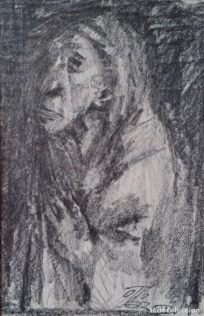 Arte: Otto Grassl (1891-1976). La Oración, acuarela y dibujo de 1940. - Foto 2 - 197468500