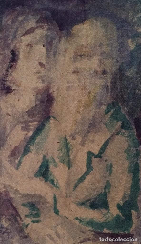 Arte: Otto Grassl (1891-1976). La Oración, acuarela y dibujo de 1940. - Foto 3 - 197468500