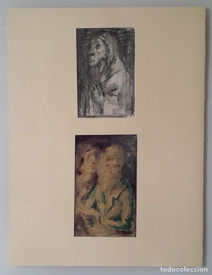 Arte: Otto Grassl (1891-1976). La Oración, acuarela y dibujo de 1940. - Foto 4 - 197468500