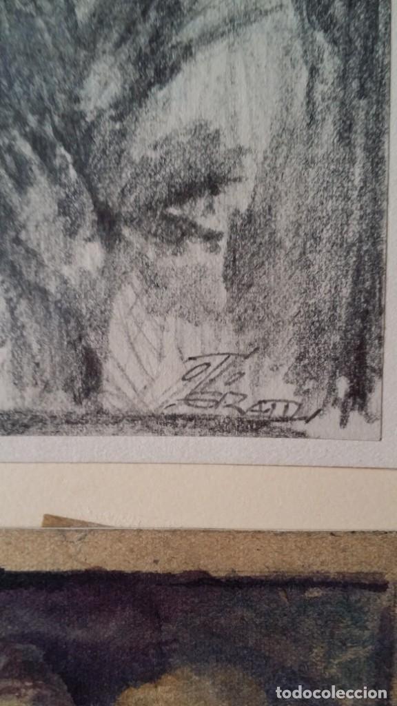 Arte: Otto Grassl (1891-1976). La Oración, acuarela y dibujo de 1940. - Foto 5 - 197468500