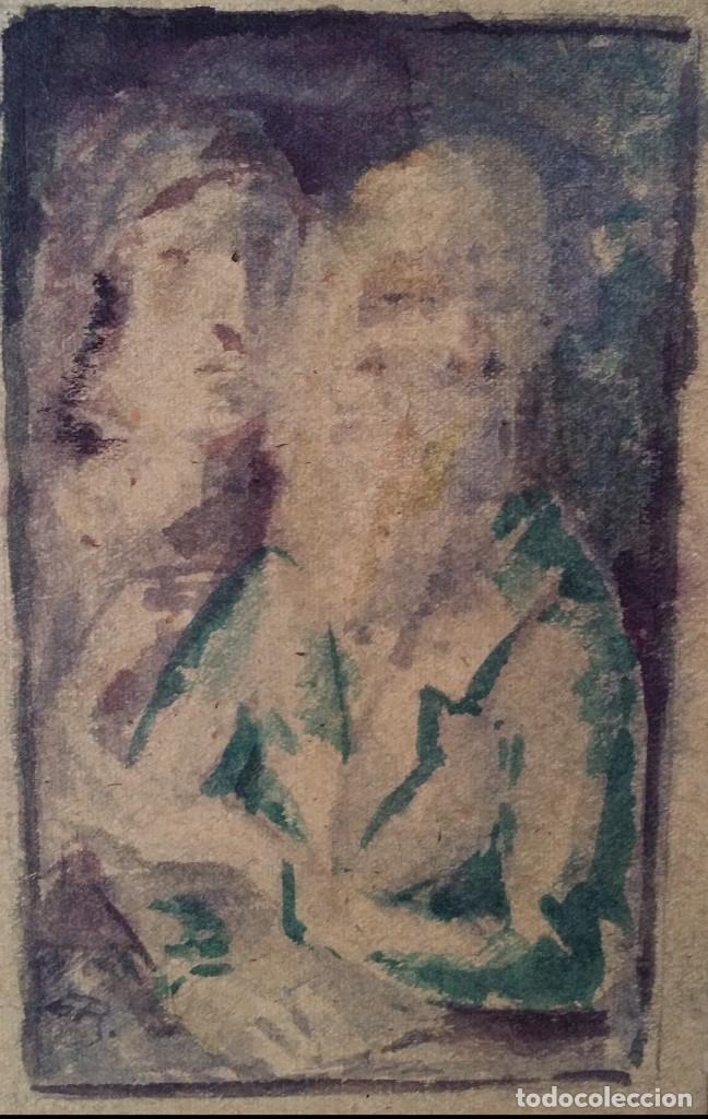 Arte: Otto Grassl (1891-1976). La Oración, acuarela y dibujo de 1940. - Foto 10 - 197468500