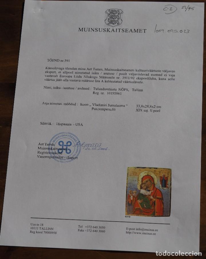 Arte: Virgen de Vladimir. Icono en pintura y oro, sobre madera S.XIX, Certificado, 33.8 x 28.8 x 8.2 cm - Foto 3 - 197839041