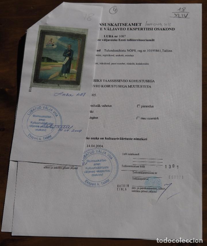 Arte: San Simeon, icono en pintura sobre madera, S.XIX, Certificado, 26.7 x 22.0 x 2.2 cm. - Foto 3 - 197839866
