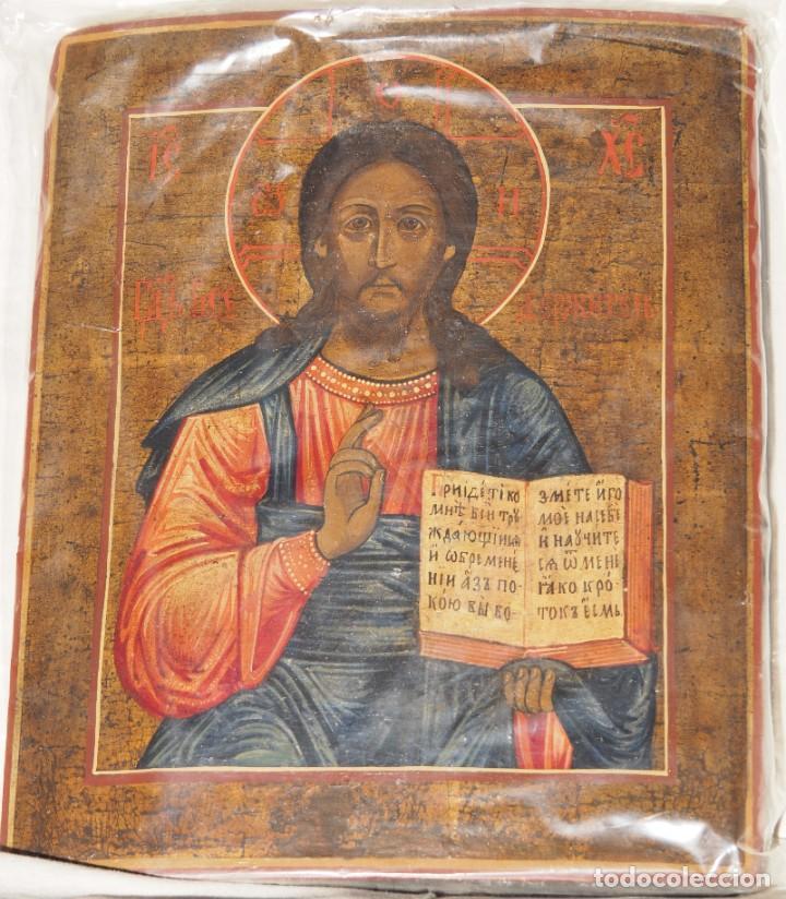 PANTOCRATOR, ICONO EN PINTURA REALIZADO EN MADERA, S.XIX, CERTIFICADO, 36.5 X 30.2 X 2.3 CM. (Arte - Arte Religioso - Iconos)