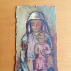 Arte: VIRGEN CON EL NIÑO , OLEO SOBRE CARTÓN DE TERESA VILARRUBIAS. 36X17 CM, HACIA 1960. Lote 198036657