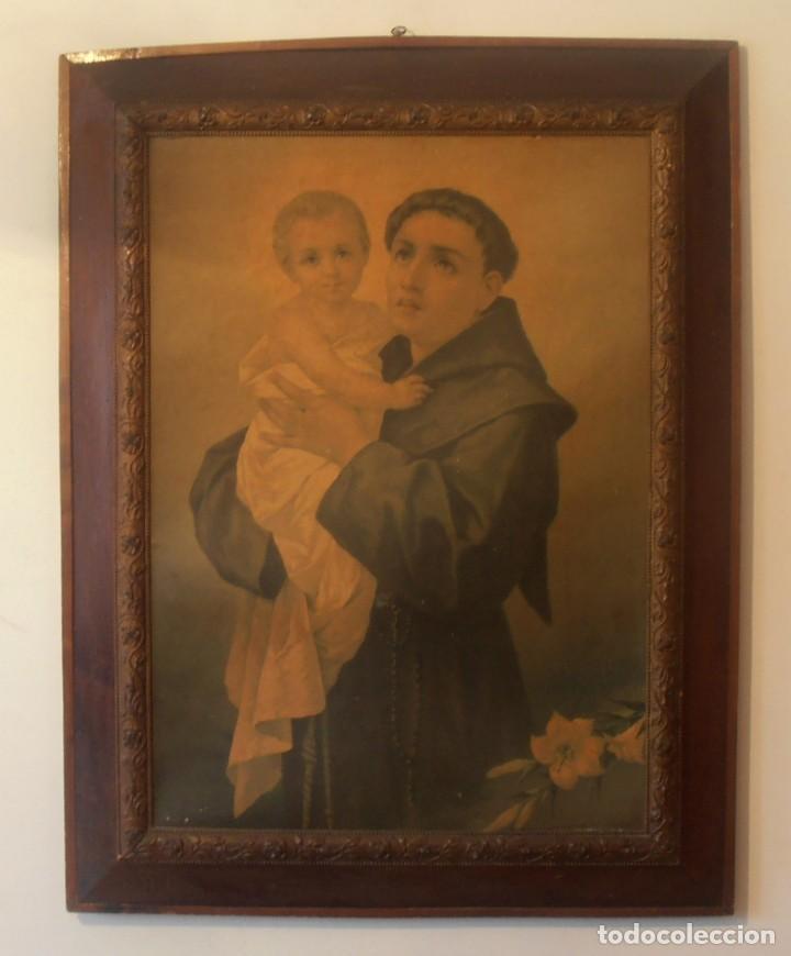 CUADRO DE SAN FRANCISCO DE ASIS CON NIÑO EN BRAZOS, MUY ANTIGUO (Arte - Arte Religioso - Litografías)